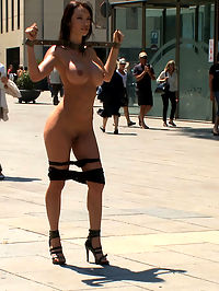 Penthouse Pet Franceska Jaimes is Publicly Caned and Fucked : Penthouse Pet Franceska Jaimes is put in metal shackles, stripped naked, caned, and paraded through a public square. Everyone stops and stares at Franceskas amazing body with her big tits and even bigger ASS! Next we tie her elbows behind her back and immediately violate her asshole, bypassing her pussy altogether! She gets anally fucked and fisted and Princess Donna gets so into her that she joins in on the action, gets her pussy fucked by James Deen while Franceska licks her clit and cleans her juices off his cock!
