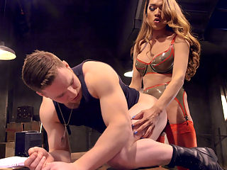 Suck that lady cock! : Army sergeant, Jessica Fox, punishes cadet, Owen Michaels, for his over sexed attitude. Jessica pulls out her hungry lady cock and uses his lecherous attitude to her advantage by getting her beautiful cock sucked and using his hungry holes, stuffing them full of her throbbing cock rubbing his on hers. Jessica is so turned on that she hops on top of his dick filling her own hungry asshole then both of them explode with juicy cum!