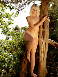 Strip show in the forest : Stirring teen honey teases and takes off her clothes to show that wonderful slim body of hers in the forest.
