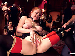 Hardcore Anal Celebration of Sexual Service : The House opens its doors to a throng of horny guests all gathered around fresh faced 18 year old Ashley Adams and our well trained Anal slave Penny Pax. It is Maestro Stefanos birthday, and gift wrapped slave girls sent from Peter Acworth jump into Stefanos lap, ready to deliver birthday blow jobs and anything else he may desire. The crowd cheers as all four bound slave girls get on their knees and deliver skillful blow jobs to male guests while mercilessly whipped and vibrated to orgasm. All four beauties are taught to stand and cum in unison while professing their dedication to The House. With the birthday boy seated and being sexually serviced by his slave girls for the night, Ashley and Penny are bound tightly with rope and told to struggle out of their bind in a competition for dick. Ashley shows off her gorgeous body and voracious appetite for cock with two male guests, while Penny Pax takes the punishment and anal fucking of a seasoned House Slave! The end of the night is a orgy of slave flesh, with Penny Pax teaching Kink Newcomer Ashley how to deliver a strict reverse cowgirl fuck while birthday sex slaves Bella Rossi and Siouxie Q cum over and over again with their bouncing breasts flogged. The crowd shouts encouragement as our well trained slaves coax cum out of the male guests with tit jobs and hungry mouths. Well done ladies!