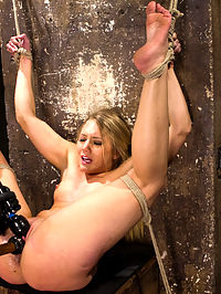 Big Booty Slut in Tight Bondage : AJ is far from being a pain slut, but she likes to get tied up and used like a slut. Her sexy little body is manipulated into several stress positions that render her completely helpless. Dont think she got away without getting tormented, just know that she got what she could handle and then made to cum more than she could handle.