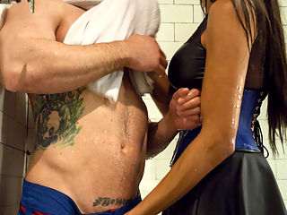 Yasmin Cums to Collect! : When Reed Jameson defaults on a debt to his bookie, he never expects to get more than a confrontation, but the devastatingly seductive Yasmin Lee arrives to collect, and she takes Reed for all hes worth! Yasmin corners Reed relaxing in the sauna, dominates and bends him to her will with an intense shower hosing and blowjob. She then extracts all of Reeds precious cum, fucking him fast, hard, and deeper than Reed could ever imagine! Enjoying every second of his torture, Yasmin smears her delicious, sweet mess of pleasure all over Reeds face, and leaves him panting just as the REAL debt collector comes in to dole out another punishment!