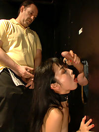 Japanese Whore Publicly Fucked in Dirty Movie Theater : Japanese slut Marica is shamed in an adult store in front of a group of horny guys. She takes a visit to the glory hole booths where she sucks and fucks a huge stranger cocks. This anal slut then gets dragged to the front of the theater where she gets pounded in all holes by big cocks.