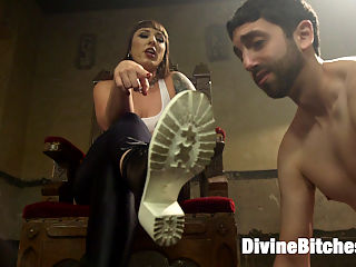 Gorgeous big bicep dominatrix wrestles, smothers and dominates slaveboy! : Ive been so excited to announce the debut of Mistress Kara at Divine Bitches! This towering muscular sexual creature smothers, wrestles, leg locks, physically and verbally dominates Jay Wimp! Her biceps are larger than his but it doesnt stop him from trying to over power this beautiful creature. That doesnt last long and soon he finds himself licking the dirty tread on the bottom of her boots, getting rammed deep in his hungry ass and worshiping her beautiful asshole and pussy. This shoot is not to be missed! Enjoy the newest addition to the roster of the most beautiful and dominant women on the planet right here at Divine Bitches!XO,Maitresse Madeline Marlowe
