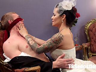 Married To Her Hungry Cock! : Zane and Foxxy are newlyweds. Theyve waited until their wedding night to consummate their marriage! Zane goes crazy for Foxxys hungry, throbbing dominating cock under her sexy lingerie. She blindfolds him and teases and taunts him until he cant take anymore. Once he sees her juicy cock he devours it immediately! Zane loves sucking on her delicious member but Foxxy has other plans, she dives her cock deep in his ass and he cant help but erupt with his filth everywhere! Foxxy uses his asshole to get herself off shooting her wet load on his hungry asshole!