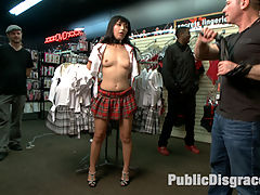Japanese Whore Publicly Fucked in Dirty Movie Theater : We are proud to announce that Public Disgrace is returning to its filthy roots with legendary director Steve Holmes. Were taking Public Disgrace back to Europe for all the best public nudity, outdoor fucking, bondage, and public shaming. Check out this free 15 minute sneak peek at all the nasty, humiliating shoots to come every week!Our first new shoot with Mona Wales starts this Friday!Japanese slut Marica is shamed in an adult store in front of a group of horny guys. She takes a visit to the glory hole booths where she sucks and fucks a huge stranger cocks. This anal slut then gets dragged to the front of the theater where she gets pounded in all holes by big cocks.