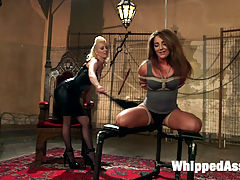 Big Booty Lesbian Slut Bound, Spanked and Anally Dominated! : Mistress Cherry Torn finally gets her hands on notoriously horny submissive anal slut Savannah Fox! Bound, flogged, cropped, slapped, and finger fucked, Savannah has multiple orgasms while she sits in a pool of her own pussy juices. Ass worship, pussy worship, face sitting, and anal strap-on fucking warm Savannah up for a DOUBLE PENETRATION pile driver that makes her come all over Cherrys dungeon floor!