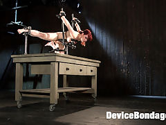 Breaking in the New Girl : Newcomer, Jessica Ryan, makes her first appearance on Device Bondage and its not one to be missed. She begins standing with her legs spread and her hands above her head. Her clothes are torn away and the torment begins. next she is locked in to a device that has her balancing on one knee and her other legs pulled out, exposing her pussy and the soles of her feet. Her soles are attacked with harsh brutality and her pussy used as we see fitting.In the final scene she is on her back with her legs belted and spread wide. She is now at her most vulnerable and the torment continues to exploit every weakness that she has. She is made to cum so hard that she starts squirting uncontrollably.