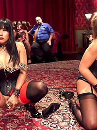 Abellas Anal Initiation : Abella Danger is a 19 year old colt that must be tamed before we can collar her, so we assigned one of our most refined senior slaves to the task the elegant Mia Li. Abella has abouncy gorgeous fuckable ass that deserves to be house property, but can Mia get her in line? The beginning of the party starts as many parties do with introductions. As Mia Li presents her fresh young charge to the house, horny guests come forward to squeeze her nubile flesh and spank her bubble butt. She is then paraded around the party learning her manners and learning guests names. Though polity does not come naturally to Abella, and Mia receives many clothes pins in punishment. Abellas mouth proves to be worthless for making introductions and a guests hard cock is placed in it while Mia receives painful orgasms and a cruel zipper much to the partys pleasure. If the House is to own Abellas ass, Mia will have to teach her how to properly fuck in a strict slave cowgirl. Mia is a fine example of slave flesh and bounces on dick, her thighs suffering with every stroke. Abella is abjectly used for oral duty, licking balls and pussy until a plug is placed in her ass and it is her turn to try fucking. Being innocent to slave training, she begins to steal orgasms will nilly and must be brought into line by Mia with a zapper and a harsh spanking hand. Close to tears, Abella finally learns how to hold her orgasms until given permission. Last scene finds our freshly minted initiate tied tightly to a table getting with a guests balls deep in her ass. Our colt finally begins to shine and she suffers exquisitely through a thorough pounding, cumming under duress and always asking permission and providing the slave motto upon release. Mia is rewarded for her outstanding leadership with countless orgasms as Abella has a collar placed around her neck. Congratulations Abella and Mia!