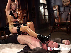 Demolishing the Dom! : Its not every day that such a meaty hunk of dick comes willingly to the dungeons of the Divine Bitches, and even more rare that hes such a cocky, domineering male specimen that gets off on spanking slaves. Lucky us. It takes the seductively commanding presence of Maitresse Madeline Marlowe to finally take this top over the top! She teases him, wafting the scent of her delicious cunt in his face, finally smothering him with divine pussy and drowning him in her juices as she slaps, bites, and flogs his rock hard, thick cock. Already on the edge, Maitresse Madeline brings him further, tying up this quickly deteriorating meat stick and edging him to the point of absolute agony! Throwing him down and binding him to the bed, Maitresse has her final way with her new toy, romancing his tight asshole with a deep anal fucking and prostate milking! Does the Divine Bitch allow him to finally FINALLY cum?!? Watch and see....
