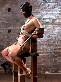 Sabrina Banks Used and Abused in Hardcore Bondage : Sabrina Banks is a hot young little slut eager to learn more about bondage. She knows a little about rope but is still new to the scene. In this shoot we have Sabrina spread out, slapped, fucked, flogged, zapped, suspended, and left a squirting mess on the dungeon floor.