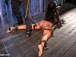 Ebony Pain Slut is Captured in Brutal Devices : Chanell starts in an inverted ankle suspension. Her body is attacked with a flogger to soften up her flesh and make it more sensitive to the pain that is coming. Her nipples are stretched and she is thrown around like the piece of meat that she is.Next she is in a predicament that makes her choose between breathing or suffering from fatigued muscles. Her sensitive soles are beaten and abused until she can take no more. Her legs and tits fall under the same torment, then she is made to cum.In the final scene we push her body to its furthest limit with another predicament that almost breaks our fragile little slut. She is pushed tormented and used up then fucked into one final orgasm that leaves her exhausted.