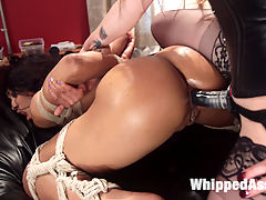 Dungeon Games Bored femme dommes spank, whip and fuck to kill time! : While waiting for clients in their dungeon, hot dommes Bella Rossi and Nikki Darling entertain each other by playing a scene of their own. Bella spanks, flogs, paddles, smothers, finger bangs, and anally strap-on fucks and Nikki into a muti-orgasmic submission!