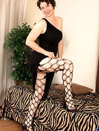 Anilos.com Artemisia - MILF hottie in big hole stockings striptease : MILF hottie in big hole stockings striptease