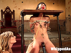 Submissive Lesbian Sex Toy Spanking, Fisting and Anal Strap-on! : Crawling to the throne of Mona Wales, submissive slut Vivi Marie eagerly awaits servicing her mistress with body worship, pussy and ass licking after a classic OTK spanking. Bondage, caning, flogging, clothespins, zipper, fisting, anal strap-on fucking, and multiple squirting orgasms leave Vivi spent in a puddle of her own pussy juice and Mona sadistically satisfied.