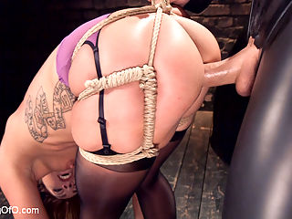 Big Ass Double Penetration Squirting Bondage Slave, Savannah Fox : Savannah Fox is a hardcore double penetration anal nymphomaniac bondage and cock slut that needs kinky sex to function! Her all natural big ass bounces on hard cock like it is the last dick on earth, and her pussy squirts like a fountain. Savannah swallows cock deep throat style like it is candy, and takes the nipple clamps, the crop and the flogger like the good little hardcore, pussy dripping painslut that she is.Savannahs big round ass it tight in rough ropes that spread her ass cheeks wide open. The gimps hard rod slides right into that wet, submissive pussy for a hard doggie fuck in tight rope bondage. Ball gagged and drooling Savannah dangles helplessly in bondage while hard dick rams her slave cunt.When Savannah is tied down pile driver style, her wide ass spreads open to take a double penetration with huge dildos that makes her slutty pussy squirt all over her own face. Slave girl Savannah Fox endures harsh slave training on the basement of the Armory and earns her stripes in servitude at the hands of sadistic slave trainers.Savannah Fox is is nymphomaniac anal sex, bondage and cock slut that needs kinky sex to function! Her all natural big ass