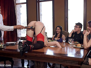 Anal MILF Slave Trains 19 Year Old How to Please Cock : Tight bodied all natural 19 yo Addison Ryder is taught how to ride hard cock by slutty MILF slave Simone Sonay. Simone is rewarded with an anal pounding in tight bondage. The brunch crowd gets excited and use fucking machines on beautiful local women in a kinky orgy.Its a sexy brunch crowd full of new horny guests. Theyre there to see 19 year old natural Addison presented as fresh slave stock. On hand is our MILF slave Simone Sonay, who already has her slutty body locked into a stock table, leaving her pink ass and wet pussy exposed for abuse. She tries her best to advise Addison on manners with her head locked below the table top, but a big anal plug and strict cropping keep her fairly occupied. Addison stumbles through her tasks until a male guest takes pity on her and stuffs her newbie mouth with dick and pounds her against a table for everyone to see. The Steward has prepared many fucking machines for the Brunch. Many beautiful local women start to mount the machines and fill the room with the sound of cumming. Soon its a full blown orgy, with BDSM players and swingers fucking on all the furniture and playing sadistic games with canes and rope. Amidst the orgy, Simone teaches Addison run her tight pussy on a guests dick, and has her own pussy painfully clamped as a punishment for her earlier performance. After being brought to a punishment orgasm, Simone uses Addisons face to sooth her pink and swollen cunt. Both slaves are ready to be put on display and are tied together tightly and left in the middle of the room for use. Ramon takes turns with the slaves holes, bring Addison close to orgasm a violent fucking, then leaving her begging when he leaves to use Simones ass. Steward takes pity on Addisons wiggling and deprived pussy and makes her squirt all over the floor and beg to serve the house. Simone meanwhile works her feminine charms to keep Ramons thick cock in her ass until she is cumming and getting z