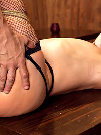 Captive Big Ass Babe Fucked in the Ass : AJ Applegate Fantasizes about getting roughed up and fucked in the ass by a shady bar owner in a bad part of town AJ is a hot, all natural blonde babe with a nice big, round ass poking out from under her short skirt. Her boss sends her on an errand to pick up a payment. When the scantily clad errand girl walks into a dark bar late at night, she does not know that all errand girls get fucked. The sleazy bar manager wrestles the slutty babe to the dirty floor. She struggles to get away, but he ties her in rope bondage, stuffs his cock in her throat before gagging her pretty mouth shut. He leers at her hot, round ass, and knows he will be fucking her tight asshole soon.In AJs fantasy, she is fucked hard in the ass in tight rope bondage, nipples clipped and pinned, twisted played with. Her legs are tied crudely open and her pussy is fucked hard by thick cock. AJ moans and squirms, begging to be let go but is met instead with more bondage and a hard ass fucking. Captive babe fucked in the ass.