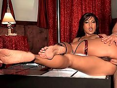 Strip Club Leg Vixen : Beautiful and lascivious Max Mikita is a dancer at an upscale club that caters to men with particular tastes. She dances for men who like feet. She understands their needs. Thats why she keeps her peds perfectly pedicured and her pussy covered in a full bush, because she knows that they love to bury their cocks in between her fur-covered lips. She always had fantasies of being fucked onstage, so when this gentleman books her private room, she takes the opportunity to suck his turgid cock in her mouth and beg him to slip it in her ass. Watch her get pummeled in her tight, little asshole and then have her feet coated in this patrons gooey tribute.