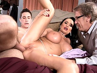 Ass-fucked Rita humiliates her hubby : In the video version of Ritas cuckold scene, we get to hear Mrs. Daniels verbally humiliating her husband while sucking on Brads 26-year-old cock and taking it in her 64-year-old pussy and asshole. The hubby seems to finally take things in stride when his wife is getting ass-fucked, and when Brad shoots his load, it comes awfully close to hitting Mr. Daniels. But it doesnt, and thats good. We guess.br br It can now be said that Rita has checked almost every item on the porn star checklist First hardcore scene, first BBG, first GGB, first BBC, first anal, first anal three-way, first DP, first creampie, cuckold scene with anal. Is there anything Rita hasnt done that youd like to see her do?br br Rita, if youre reading this, is there anything youd like to do that you havent done?br br Ah, Rita! What a genuine GILF superstar she is. iSCORELANDi Blog readers named her Busty MILF of the Year in a close vote over Sally DAngelo. How can a woman be so nice, so charming and yet so slutty at the same time. She has big, fat tits and a puffy, shaved pussy and great dick-sucking lips. She does it all and then asks for more.br br Did you know that Rita was born in Washington State? And that she plays billiards? Can you imagine her bending over the table?br br My fantasy is playing strip billiards and getting fucked on the pool table by three burly biker boys, she said.br br Okay, theres something we can have Rita do a threesome with three bikers. But what else?