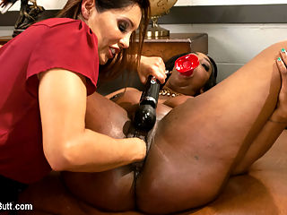 Gorgeous Ebony Beauty with an Anal Addiction gets unorthodox treatment : Francesca Le has a client with an extreme anal addiction. Lisa Tiffian can not get enough anal stimulation and its causing her some embarrassment when she can not control her anal addiction in public places. Francesca Le is going to use an unorthodox approach to curing Lisas addiction. She will over stimulate Lisas ass with giant toys. When the toys prove useless, Francesca pushes her bronzed fist deep into the ebony asshole. Then Francesa Fucks milky white cum out of Lisas asshole with a huge Strapon. This is Lisas first taste of a fist in the ass and a huge strap on fucking white milky cum out of her asshole.