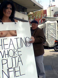 Cheating Wifes Big Hot Ass Shamed Fully Naked In Public Display : Montse Swinger is a cheating whore of a wife and Mona Wales is there to teach this bitch a lesson! Everyone in town is going to know how many cocks this unfaithful wife has stuffed in her anal hungry ass while Mona parades her fully naked in public where husbands coworkers shop! Who knows how many of these onlookers this Puta has fucked! To continue the humiliation Montse is tied up in rope bondage then fisted and anally fucked in front of a crowd of on duty construction workers!
