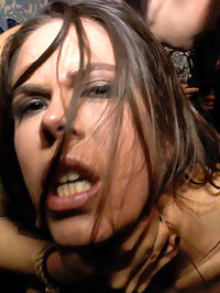 Beautiful Spanish Slut Completely Humiliated on Stage at Live Concert : Gorgeous Domme Satrina completely humiliates spanish slave Gala Brown at a live concert. The crowd laughs and mocks this horny slut as she is used and ridiculed by the live band! The rowdy crowd then takes turns using gala as she is fucked and made to suck off stranger cock!