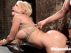 Bitchy Bratty Barbie Porn Slut Tormented and Anally Dominated! : Mistress Cherry Torn keeps her porn star slut, Nikki Dilano, chained in her basement to be used for her amusement at her convenience. Nikki endures spanking, flogging, foot torture, torment through orgasms, and pussy and anal strap-on fucking!