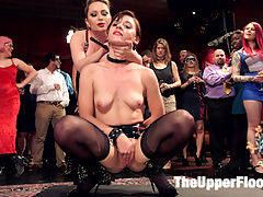 Latex Slave Girl Anally Debased By Dick Hungry Governess : Sultry new slave girl Audrey Holiday is publicly humiliated with metal butt plugs, strict spanking, tied tight and fucked in the ass with a huge cock. Aiden Starr gets hungry and jumps in as senior slave, stealing all the cock for her pussy, making Audrey take a huge cum load down her throat and lick up the mess. The House is in disarray. One slave is so late, she is sent home by Stefanos, leaving only one piece of fresh slave meat and no senior slave. To make matters worse, Governess Aiden Starr is visiting ands has been promised two latex slave during her stay. She wastes no time laying in sultry Audrey Holiday, quickly destroying her ego and humiliating her in front of the sex party crowd. Made to cum on her knees with a weighted metal plus in her ass, Audrey looks sexy and desperate within minutes. Aiden is still not satisfied, and appoints herself defacto senior slave for the evening, partially to teach the new girl and partially because she is a horny bitch that loves dick. A house guests with a hard dick is located, and Aiden soon is sliding her red lips around in a sloppy blow job while Audrey licks balls and cleans Aidens ass. The Governess decides to place Audrey on further fuck training, and only allowing her to lick boots and practice on her strap on. Insatiable male guests cant stop watching Aidens bouncing ass, and eventually The Governess getting fucked in her perfect pussy with Audrey groveling underneath her. Satisfied, Aiden allows Audrey to take a hard butt fucking in a painful rope predicament. Followed with a kinky threesome in which Aiden uses Audrey to lick her pussy and fluff the cock until she has had all the orgasms and is ready have hot cum sprayed down the back of her throat.
