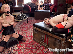 A Cruel Protocol : When novice slave girl Cadence Lux petitions the House for place among the Upper Floor Slaves, she must first endure the cruel lessons of Formal Sexual Service. Anal Slave Casey Calvert is put and charge of the new slut. To motivate her to teach Lux, Calvert is whipped, clipped and tormented until she successfully mentors her apprentice slut through a simple Brunch Service. What the two girls do not bank on is Michael Vegas hard cock requiring constant attention from the fledging petitioner.With the Brunch service tended to, the party moves into the Lounge where the guests unpack toy bags and strip out of hot clothing. Beautiful house guests are tied, taunted and fucked in a sexy Edwardian environment while the House Slaves struggle to maintain a show of their polished attention to discipline and detail.The Predicament Anal Slave Calvert is ordered to teach Petitioner Lux the Three Simple House Rules that the slaves live by during their time on the Upper Floor. Casey Calvert is bound with her House Leathers into a vulnerable anal doggie position, the cheeks of her slave ass pulled apart with rough rope bondage that puts her submissive asshole on lewd display. Casey works for the title Anal Slave as Vegas relentlessly pounds her ass with his thick, throbbing dick. Caseys cries are muffled behind a huge ball gag. She struggles to speak to Cadence - trying to teach her the House RulesCadence Lux is on her knees with a Sybian tied firmly against her tender cunt. Her arms are painfully outstretched, her hands balancing the Service Trays piled high with the leather she seeks to wear. She cannot get away from the punishing vibration of the Sybian. Her mouth is pulled wide open and stuffed with an insanely large ball gag, drool coating her sweaty face as the pair struggle together with the impossible task.Then the begging begins. Please Sir, may we come? No. Orgasm Denied. Come Together. House slaves work in Pairs - they Beg together, the Fuck together, they Orgasm together or not at all! Now, slave girls, Serve The House!The Upper Floor is where sexual fantasy and reality come together to create a place where anything erotic can happen Two fine slave asses wag on the couch, tempting you to fuck them. Begging you to fuck them. Please Sir, Fuck Me. I Need It. Fuck Me Please!