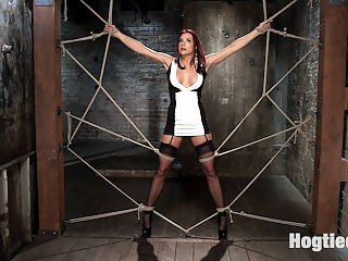 Chanel Preston Returns to Hogtied!! : Ive been waiting for a long time to get Chanel tied up so that I could do hardcore shit to her. I met her early in her career and have watched her over the years blossom into a very powerful Domme. Thats not what she is here for today, but rather just the opposite. The plan is to make her totally helpless in tight bondage and, torment her, and make her orgasm harder than she ever has before.We begin with her in a spider web of rope in a standing position. Her clothes are ripped away exposing her amazing body. I slap, flog, pinch, and prod her to get a feel for what this slut can take. She seems like she can take a little more pain that I originally thought, so the torment begins.Next she is in a partial suspension, bent over, and her arms pulled up into a stappado. Her ass gets spanked, then flogged, and then her hungry pussy is fucked, but not before we fill her ass with a metal hook and tie it to her hair.Its time to make this slut fly, so we put her in an inverted hogtie suspension. Her wrists are tied to her ankle and she hangs there helplessly while I have my way with her slutty body and pussy. In the final scene we put her in a position that best represents her as the slut that she is. She is on her back with her legs spread wide and after a little pain I fuck her and finger bang her so hard that she is speaking gibberish. Her mind is blown with non stop orgasms!!