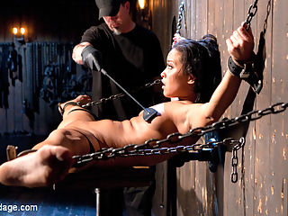 Plaything : Mia has been left in a dark dungeon, chained to the floor. She is crotched away in the darkness with hopes of eluding her captor. The Pope enters and slowly drags her into the light by her chain to torment. The positions change but always keep her helpless, and the suffering increases with every passing moment. She begs and pleads for it to stop, but it wont stop until he has completely destroyed her. Mias introduction to his sadistic ways will be one that she will not soon forget.