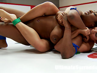 Milf Penny Barber does an erotic wrestling match with Lisa Tiffian : Because we had a rookie cup tournament, some of the matches had to be shot out of order to accommodate our update schedule. This is one of Lisas First matches ever and shes going up against our finest vets, the Big tittied, mouth Milf we all love to hate, Penny Barber. These girls clash hard on the mats. There is a lot of power in both their legs, and much damage to be done with their huge tits flying around everywhere. The Winner takes the losers ass and pussy as a prize. The tits are tied up and the loser is made to acknowledge they are a failure to all their fans.