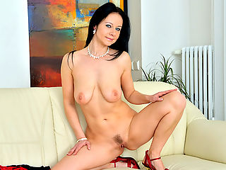 Tall dark haired mom comes home from a bad date and strips off her sexy red dress to play with her full natural tits and fuck her cum craving pussy until it pulses with orgasmic pleasure