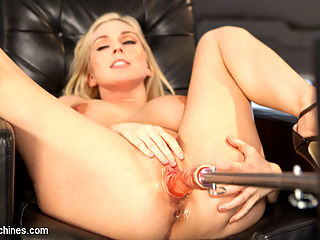 Hot Blonde, Big Tits, and a Sweet Pussy!!! : Christie has that body that all of us wish we could spend some time trying to please. She has massive tits, a great ass, and a sweet pussy that is dripping with anticipation. We let her get her cunt warmed up and then bring in the first machine. She says she wants it, but when we begin, she struggles with the speed and power of our machines. She warms up to them and then we cant give her enough. She wants more and more, and when we stop the machines, she decides that she wants to lick her pussy juices off of the machine.