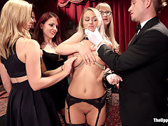 The Southern Belle and The Depraved Anal Slave : Emily Austin a delicate southern flower and Mandy Muse is just the juicy assed anal slut teach her how to be an Upper Floor slave. Our sweet blond initiate looks shocked as horny female guests feel up her naked body, the Butler demands she talk dirty with his fat cock in her mouth, and the crowd waits for her to cum for their pleasure. One begins to wonder if she is shy, but Mandy takes control like a true senior slave and pushes Emily out of her shell into a series of filthy out of control orgasms that leave her begging for cock in all her holes. However, orgasms dont come easy on The Upper Floor, and both slaves endure tight rope bondage and heavy floggings before they are allowed to get fucked in the ass or made to cum by our beautiful female guests. Both ladies have true chemistry together and end the night in a begging, sweaty, desperate sexual scene on the couch with the Butler and several female guests.