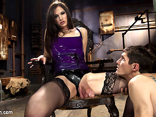 Her Rock Hard Dominate Cock and Exquisite Toes! : Michelle Firestone is blazing hot in this kinky dungeon update! Shes fierce in her dripping wet latex and Tony is made to worship her beautiful stocking feet, sniffing and sucking all her sweet sweat from between her delicious toes. Michelle bends him over her knee and gives him the spanking he deserves then smothers him with her mouthwatering ass. As if that isnt enough, they sixty nine sucking each others rock hard cocks as they both drip with sticky precum. Michelle dives deep, deep and deeper into Tonys hungry ass with her long and thick sexy cock until they both shoot filthy loads of cum all over!