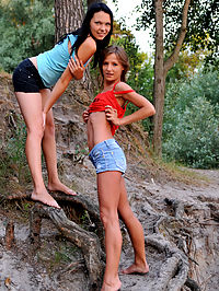 A visit in nature : Two lesbo teens have some naked fun in the corner of a forest as the heat starts to rise and desire builds up.