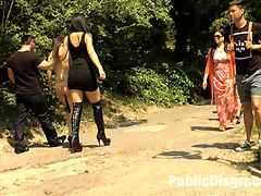 Fetish Liza and John Strong humiliate Fuck Doll Chiara in Budapest!!! : Chiara Diletto is back on Public Disgrace and ready for another brutal humiliation. We are also proud to have Fetish Liza and John Strong to drag around and disgrace anal slut Chiara! In the fist part of this epic, Chiara is stripped fully nude in a public park and made to crawl around on hands and knees like a dog! She also takes a hard corporal punishment from Fetish Liza. Later Chiara is put on full display to the public streets of Budapest where she takes a two huge cocks and a double penetration. Her ass gets filled! John Strong also puts her to shame with a painful electric zapping to her pussy!!! You do not want to miss this amazing shoot!