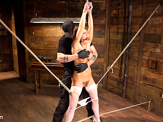California Girl Turned Into a California Slut in Tight Bondage : Carter starts her day with her arms above her head and her legs spread, wich I like to call the get to know you position. After toying with her for a few minutes, I add a few more ropes to intensify the bondage and stress her legs. She is not much of a pain slut, but this whore orgasms so hard that she completely checks out and goes to her happy place.Pain slut or not, she is going to suffer, so I put her in a tight compact tie with one leg pulled high to keep her pussy vulnerable. I assault her body with heavy impact that turns her tan skin a bright shade of red. This California girl is quickly tuned into dirty little slut that begs for the suffering to stop.Cute little Carter has never been suspended before, but thats not going to stop me from making it a grueling one. She is pulled into the air with her arms bound to bamboo and her legs contorted in a way that makes her suffer. This may have been her first, but this slut took it like a champ. The day is coming to a close, but Carter still needs a little more pain and fucking to make this day complete. She is face down straddling a beam and her perfect ass is begging to get fucked. Her mouth is saying no, but her pussy and ass are screaming more.