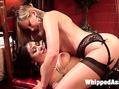Lea Lexis dominated by Maitresse Madeline Marlowe!!! : Hot professionals, Lea Lexis and Madeline Marlowe blow off steam after work with a smoking kinky lesbian encounter. Lea Lexis takes a vacation from her life of power and control and erotically submits to OTK, flogging, lesbian sexual service, anal strap-on fucking and multiple orgasms!