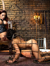 Property of Chanel Preston : Horny lesbian slut, Mia Austin, devotes her self to the sadistic pleasure of her mistress, Chanel Preston with foot worship, pussy licking, fisting, spanking, flogging, caning, bastanado, clothespins and zipper, pussy and anal strap-on!