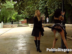 The Disgrace that is Anal Slut Coco de Mal : Coco de Mal is a leather bondage whore and is there only to serve her horny domme Nikki Thorne! With her gorgeous ass on display to the public of Budapest, Nikki delivers a hard corporal punishment. Once that ass is ripe its time to fill it up! Nikki finds two hard cocks to deliver a hard pounding for that anal whore. Double Vaginal, Double Penetration, and a face full of cum is what this shamed slut gets.