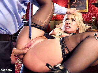 Slutty Anal Slave Squirts with Butlers Fist in Her Cunt : Slutty Syren De Mer is the perfect sex slave, but is selfish and only serves her own cunt. When she fails to train the newbie know nothing slut Katerina Kay we take away her slave collar AND her orgasm privileges. Orgasm denial is pure torment for a squirting MILF whore like Syren, so she gets right on her task. Unfortunately the sadistic Butler wont let her have it that easy, and bangs her trapped cunt in bondage while she tries to teach a gagged Katerina the House Rules. To make matters worse, Butler Bill has a penchant for stretching holes, and soon has his massive fist crammed in Syrens tight pussy, causing her to lose control and squirt all over the furniture. Katerina is a good slut and soon shows that she knows the rules while enduring a deep pounding in front of all the guests. Syren is pleased to earn her collar back, but is a strict senior slave and sets to making Katerina sweat in a reverse cow girl fuck to prepare the Butlers cock for her ass. Syren is a true anal slut, and will not be satisfied until Bills cock is deep in her ass she has her own face face deep in Katerinas butt, licking her sweet asshole. Truly, Syren is one of the finest MILF sex slaves we have on hand, and she has delivered a perfect performance as both senior slave and slutty anal submissive. Thank you ladies!