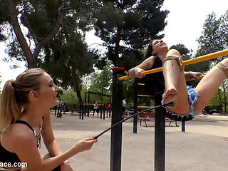 Two Slutty Losers Get Mind Fucked by Mona Wales and Juliette March : We have Mona Wales back! And to make it even crazier shes brought along Juliette March to brutally humiliate two gorgeous slutty loser models! These rope bondage whores get tied up in a public park in front of a huge crowd and take a serious corporal punishment! Next these disgraced sluts get stripped fully naked in public and told to bark like dogs for the huge crowd to see! Finally we tie up these beautiful models again for an epic fucking and fisting! Do not miss this public humiliation with Mona Wales, Juliette March, perky Claudia Nicole, and busty Valeria Blue!!!