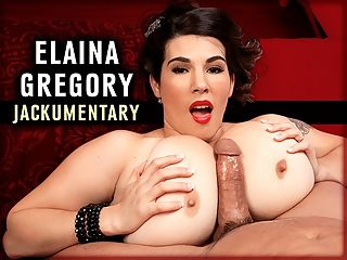 Elaina Gregory Jackumentary : When Elaina Gregory debuted at iSCORELANDi on December 3rd, 2010, TSG editor and SCOREtv host Dave was impressed.br br Wrote Dave, Elaina is a tiny thing, standing only five-feet tall, so you can imagine how surprised we were when she unleashed her 34Ns, and they were not only huge, but also extremely firm. You just dont see tits that firm when you start getting into really big sizes.br br Elaina was an army veteran, stationed at Fort Hood. She was raised a strict Catholic girl. She met her husband in boot camp. These are not usually the factors that lead a girl to posing totally naked and playing with toys in a mens mag and website. However, Elainas husband was a V-mag subscriber and iSCORELANDi member. He was also our ally and suggested that Elaina check us out. She listened to her husband, unusual for most wives, and sent TSG her snaps from home.br br Said Elaina, I figured that it might be nice to get away from being a housewife for a few days and come here to shoot. And I was right. It is a lot of fun! br br Elaina took to modeling immediately. Showing her tits, spreading her pussy, toying herself. She was good with all of it. And near the end of her time as a model, Elaina did a Tits and Tugs scene which was a boner-maker. She explained why she did a Tits and Tugs in a Blog video. Its something I was curious to do, something I was curious to see, Elaina said.br br Shortly after her Farmers Daughter shoot, Elaina gave up modeling and returned to her civilian life and housewife responsibilities. While Elaina was active, she made a lot of boob-drunk guys happy. And for that we too are grateful. Because were boob-drunk guys also.br br Wrote Freddie from Seattle, Elaina Gregory, with her stunning Elizabeth Taylor beauty and fantastic personality, is absolutely wonderful. She is a total class act and it is endearing to see her wedding ring in so many of her still shots and videos. Her husband has given many men an opportunity to see Ela