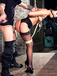 Petite Brunette Pussy Pounding in Hardcore Bondage : Beautiful blue eyed brunette Sabrina Banks puts her gorgeous body on the line as Mr. Petes slave in training. Hardcore rough sex in tight bondage positions, nipple clamps, gags, drool, rough blow jobs, heavy dominance and sexual submission.