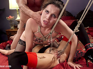 The Nymphomaniac Slave Punished with Double Pounding : House Maid Warner is sent to turn down the beds and makes a terrible error when she finds the lead nympho slave in a strict rope deprivation punishment. Veronica is practically slavering all over her tightly bound tits. Its been two weeks since she was last given sex, and she will do anything to get it. Once she manages to make herself enough of an obstacle to cleaning that she must be untied, Veronica jumps the maids nubile young pussy and gets her fill of innocent flesh. Master Banderas comes in to find his deprivation experiment ruined and his slutty MILF subjects fist deep in the maids trapped pussy. Sexual punishment is due, and both the maid and the nympho slave will be subjected to a thorough and violent fucking. Tits tied tightly, clamps applied painfully, and fists deep in tight asshole and wet cunts squirting, these women get more sex than either of them bargained for, leading to Banderas new experiment Can a nymphomaniac MILF ever get filled with enough cock? Watch to find out.