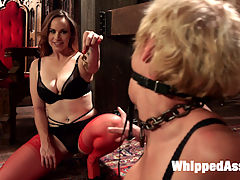 When the Cats Away Slutty Slaves Play : Bella and Darlings mistress leaves them alone in her dungeon, shackled and bound together with a kissing gag. Unsupervised, Bella struggles out of her restraints only to use Darling as her personal lesbian fuck toy. The scene intensifies with spanking, bondage, flogging, caning, pussy licking, ass worship, finger banging, pussy and anal strap-on and relentless orgasm torture!