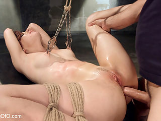 Anal Slave Training Audrey Holiday : Hot hot Audrey Holiday is trained by Tommy Pistol to take hardcore anal stretching and fucking while in tight rope bondage. She can suck cock but can she do it while suspended and vibe driving her pussy over the top? Audrey takes hard face fucking while suspended in ropes, then gets tied up and fucked hard the the Masters pleasure.